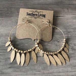 Southern Living Gold Dangle Hoop Earrings